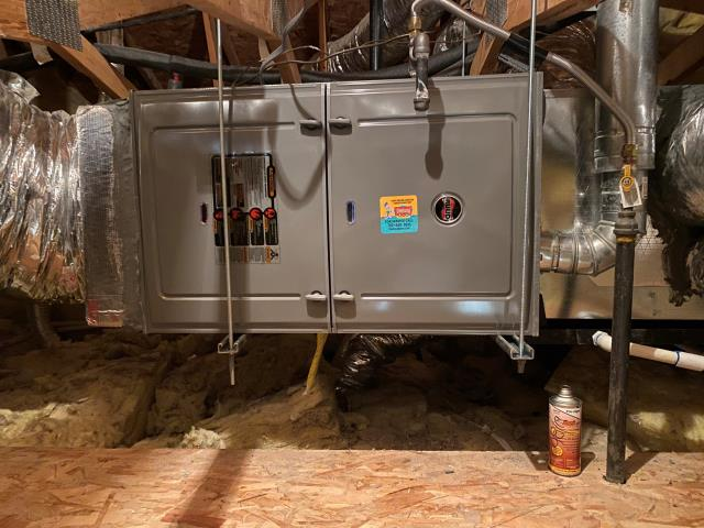 Install 4 ton RUUD brand 16 seer complete split system. New gas furnace, new indoor coil, new outdoor condensing unit. R410 Freon 10 year parts warranty included