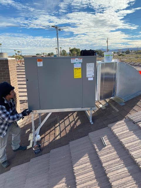 Install new 4 ton RUUD brand packaged rooftop heat pump AC system with sheet metal fabrication work and iron stand in Henderson area. 10 year parts warranty