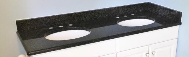 Henrico, VA - Just installed an Ubatuba vanity top on customers existing cream cabinets. Looks great!