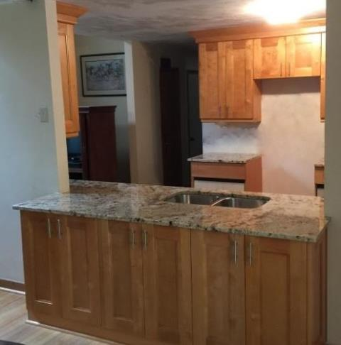 Prince George, VA - We really enjoy working with our contractors to provide quality kitchens for their customers. Our Double Shaker cabinet looks great with our in-stock Golden Crema.