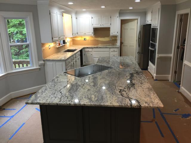 Mechanicsville, VA - So rewarding to hear that my client loves her new White Eyes Advantage granite countertop we just installed today.  Can't wait to see the finished project.