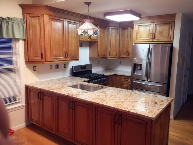 Henrico, VA - Just installed this beautiful kitchen for my sweet client.  Beaded rope solid maple cabinets with the golden crema granite.  Can't wait to see the new kitchen after the tile backsplash is installed.