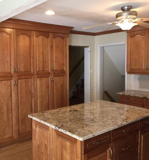 Richmond, VA - Honey maple kitchen cabinets with Golden Crema granite counter tops.  Can't wait for the finished kitchen with client's backsplash.