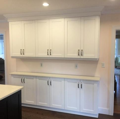 Richmond, VA - We love the subtle & soft paint color our customer picked to surround the crisp white cabinets and crystal white quartz our installers just added.