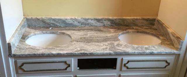 Mechanicsville, VA - We just installed this beautiful Fantasy Brown granite on our customers existing vanity. We can't wait to see the final product once the cabinets are refinished!