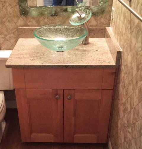 Glen Allen, VA - Just installed our Double Shaker vanity with Millennium Cream granite for one of our favorite customers! They've purchased many jobs from us over the years and we're so happy they've chosen to come back each time!