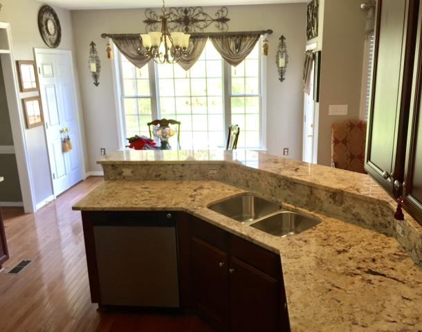 Chesterfield, VA - Yesterday we installed Golden Crema Granite counter tops for my client.  So happy to hear that she loves her new kitchen counter.