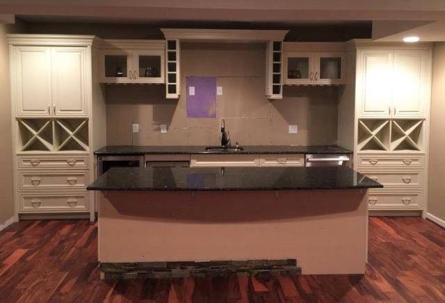 Glen Allen, VA - Just finished installing this knock out basement bar! We can't wait to see what it looks likes after the tile splash and knee wall are complete. It's going to be absolutely stunning!