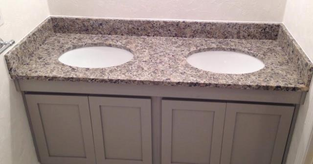 Midlothian, VA - Our in-stock Yellow Butterfly granite looks great on our customers own Gray cabinets!