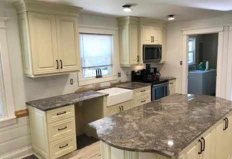 Midlothian, VA - We absolutely can't wait to see this kitchen finished! We installed our beautiful Vanilla Cabinets with our new inventory of the stunning Ganache granite. What a transformation from the original kitchen!