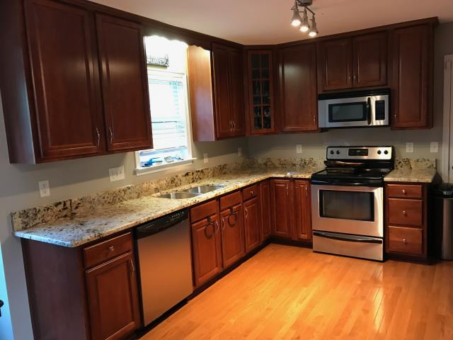 Richmond, VA - The Golden Crema granite looks beautiful with my client's existing cabinets.  My client was referred by her cousin who used our company for her kitchen counter top also.  We look forward to helping all the family members and friends.