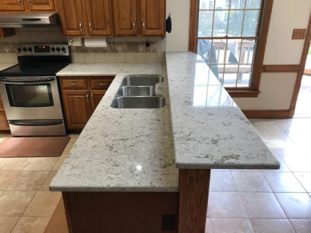 Henrico, VA - I had the pleasure to install this beautiful quartz kitchen countertop for my sweet client.  The name of this quartz is Windermere from Cambria.