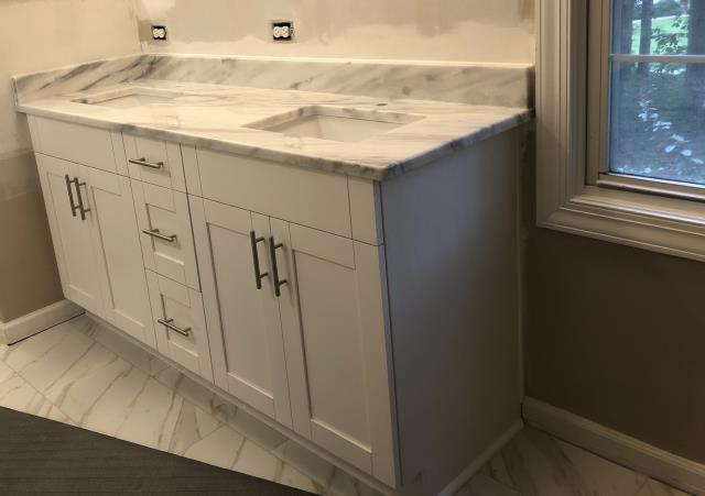 Richmond, VA - I love our beautiful Shadow Storm with the White Shaker cabinets.  Can't wait to have my shadow storm installed in my master bath this Monday.