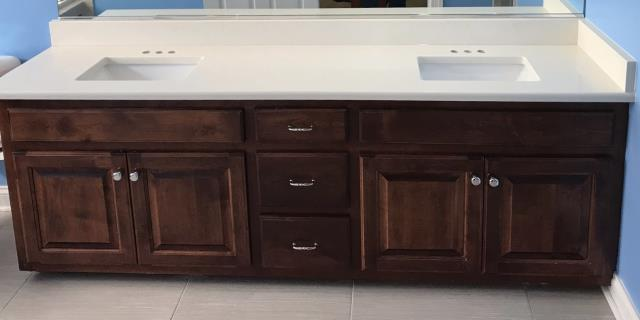 Colonial Heights, VA - Lalico White quartz installed with the client's current vanity cabinets.