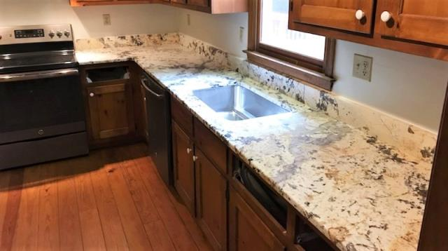 Goochland, VA - Just finished installing this gorgeous special order Centaurus leathered granite counter.