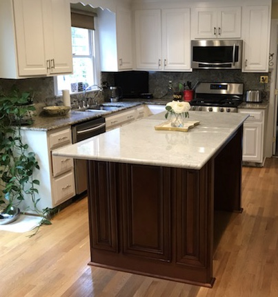 Richmond, VA - Coffee maple island with the gorgeous Carara White Marble is a great addition to my client's kitchen.  We hope our client enjoys this beautiful island over the Holidays.