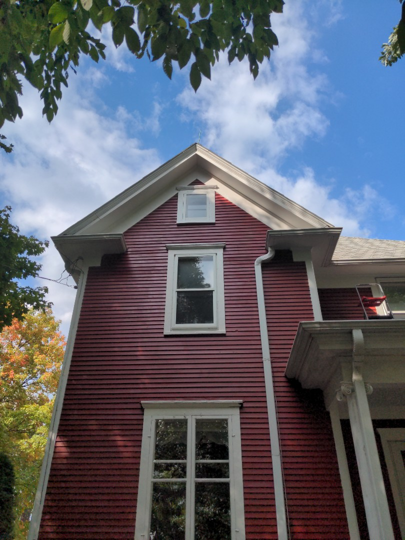 Installing exterior crown molding!
