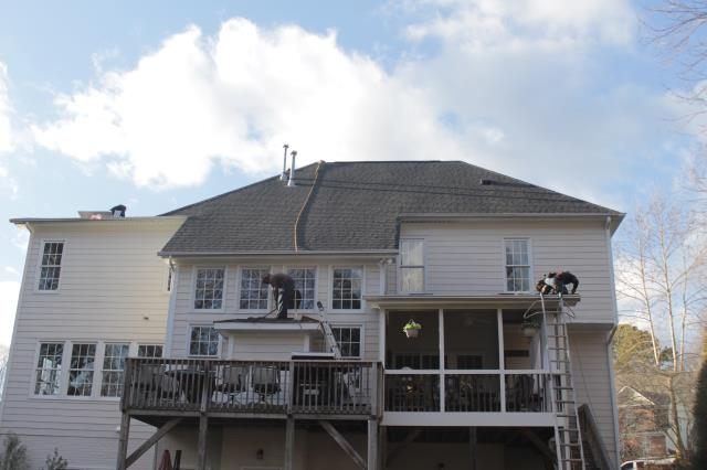 Apex, NC - Day 2: Finished this 45 sq. roof replacement with GAF Timberline in Charcoal