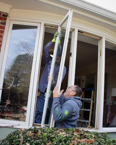 Cary, NC - Finishing up with a window replacement job in Cary; (10) windows