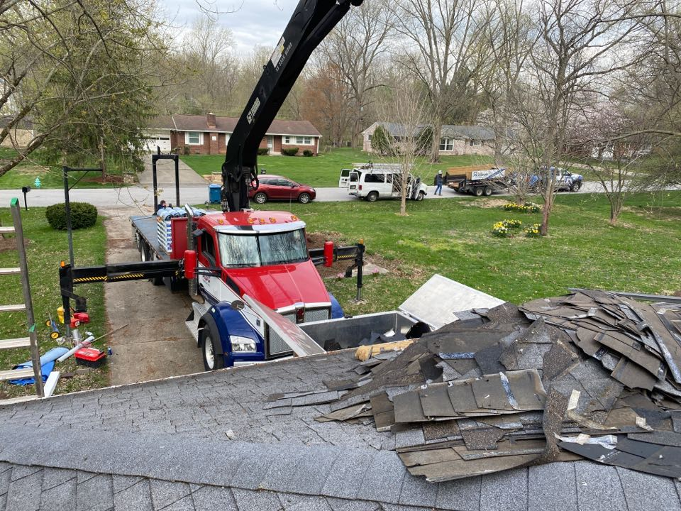 Indianapolis, IN - Supervising a roof install