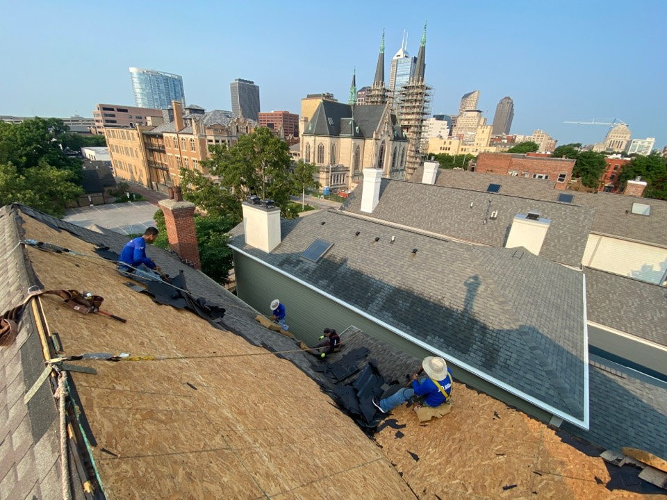 Indianapolis, IN - Supervising a roofing project in downtown area. We are replacing a shingle roof using Atlas products, we were first called out to do a repair job and home owner decided to replace the roof after looking at the pictures.