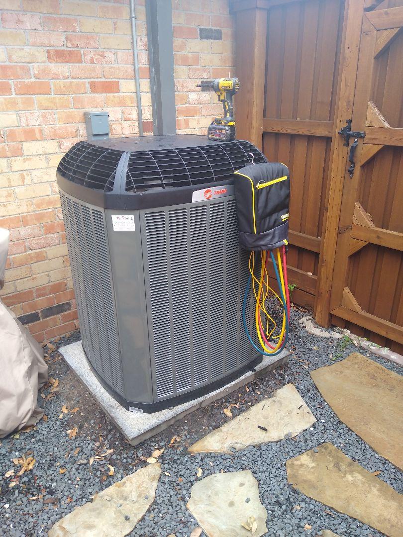 Post install walkthrough on a Trane AC system in Richardson