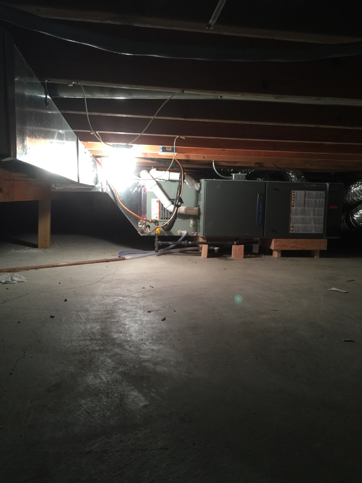 Andover, MN - Install American standard high efficient furnace and air conditioner in a crawl space to an addition.