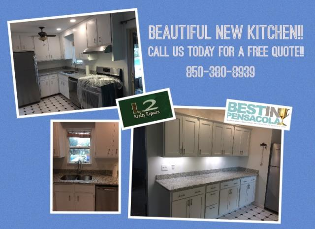 Pensacola, FL - We painted her cabinets, replaced the countertops, removed the old pantry and installed new cabinets on the back wall of the kitchen, installed new appliances and replaced the kitchen sink and faucet. I turned out beautifully!