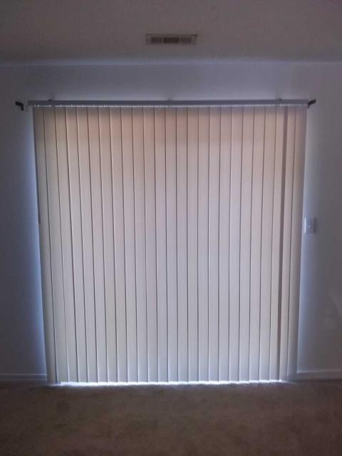 Painted the front door, replaced blinds and vertical blinds for property management company.