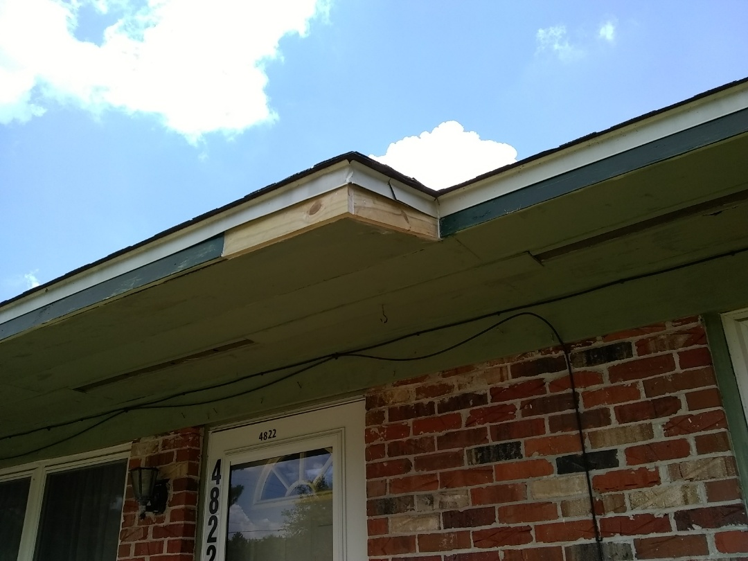 Repaired rotten fascia on front eave. Replaced birdmouths on four corners. Replaced weatherstrip on inside of French doors.