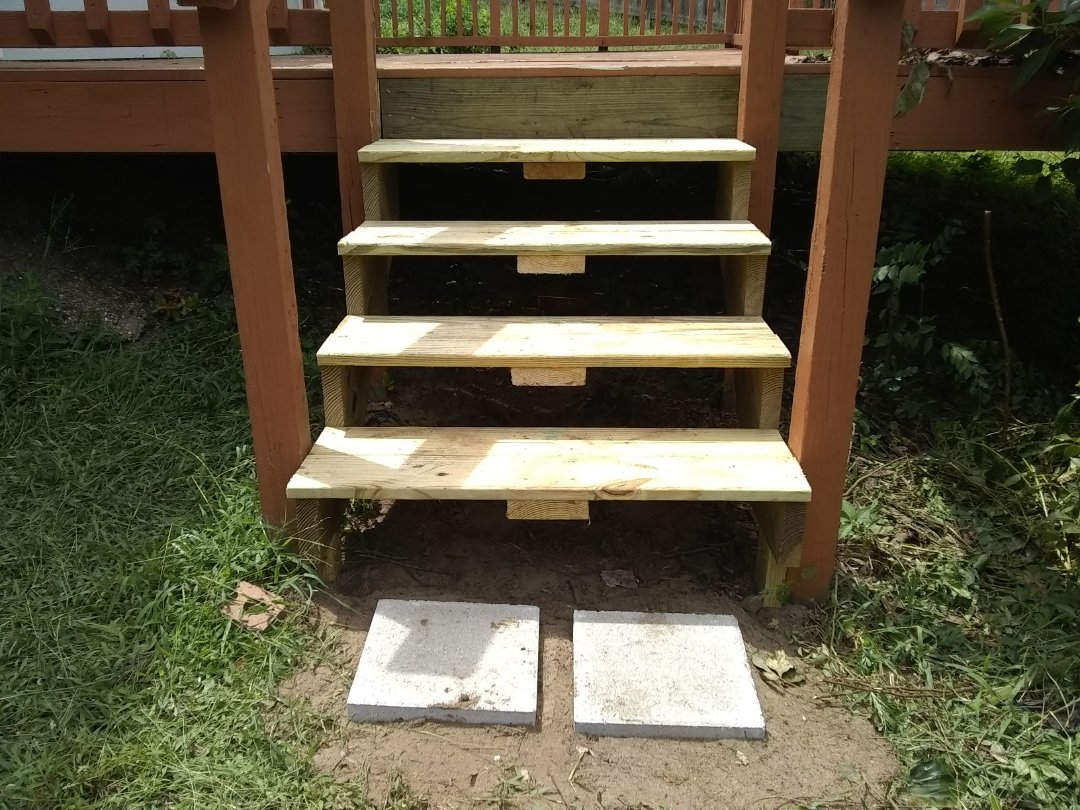 Replaced rotten deck steps.