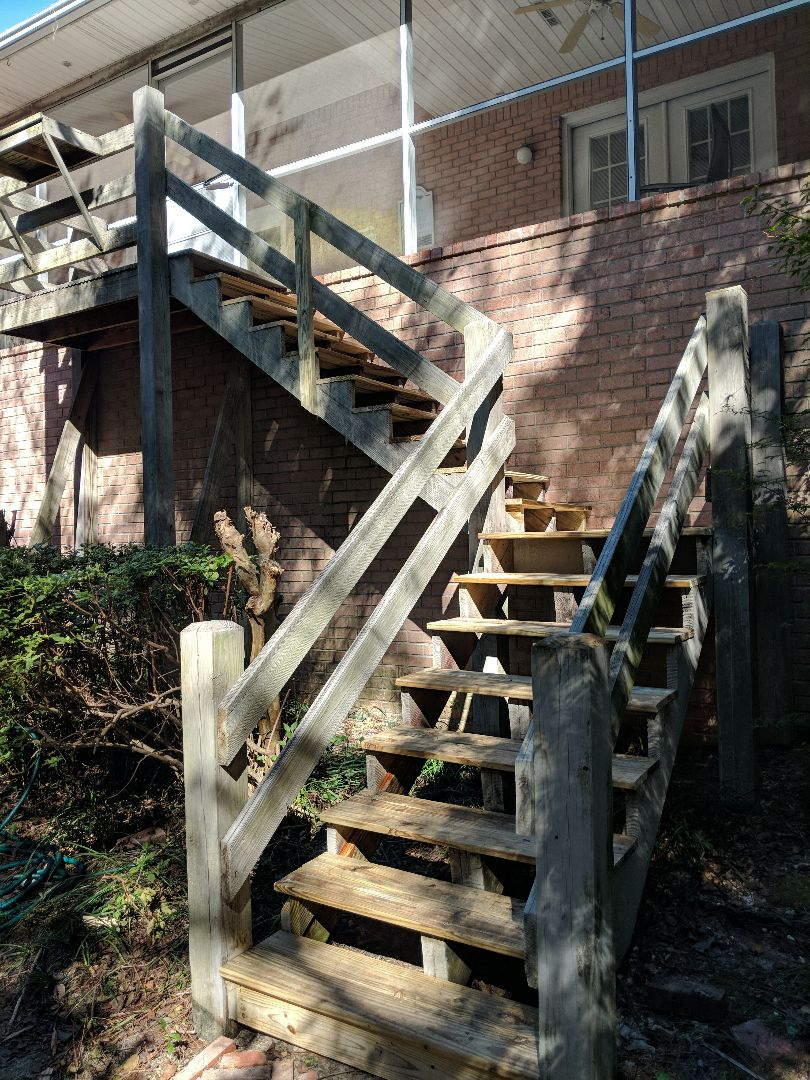 "Replace 5/4""x6"" decking on set of wood frame stairs"