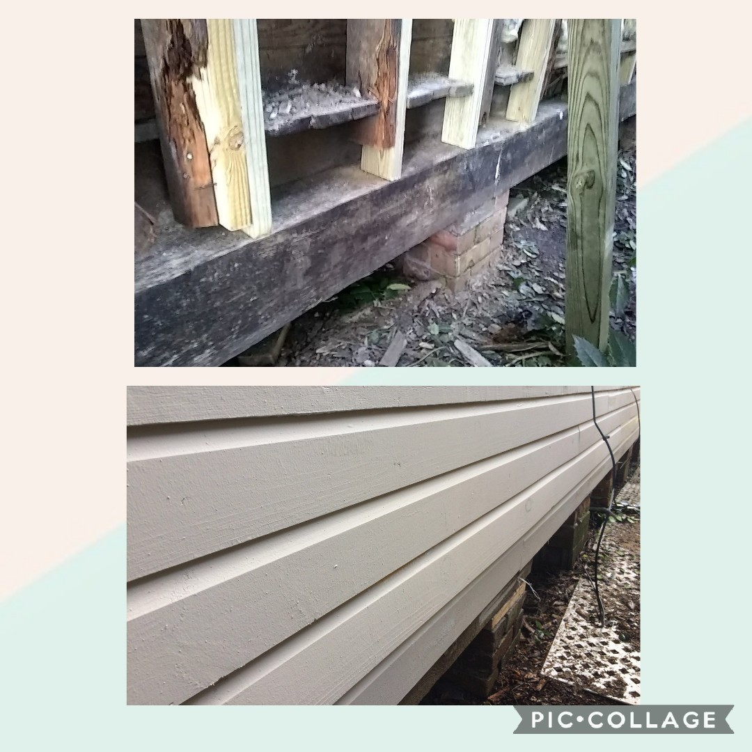 Replaced wall support beams and wood siding