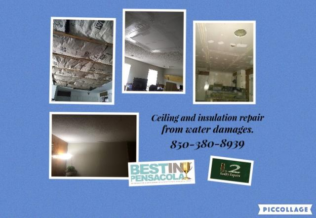 Pensacola, FL - Their ceiling caved in from a roof leak. We cleaned up all of the debris and repaired the damages.