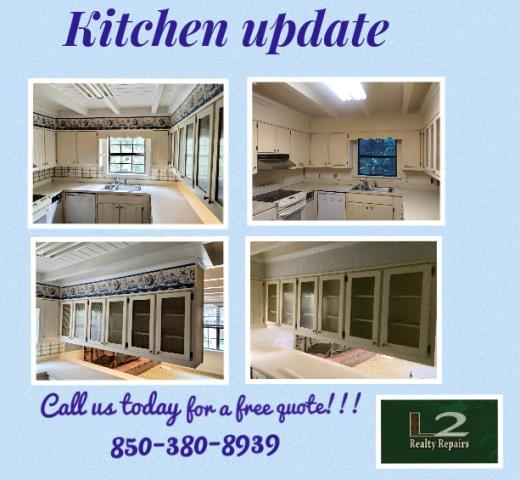 Milton, FL - Removed wallpaper and repainted kitchen. Replaced glass in kitchen cabinets.