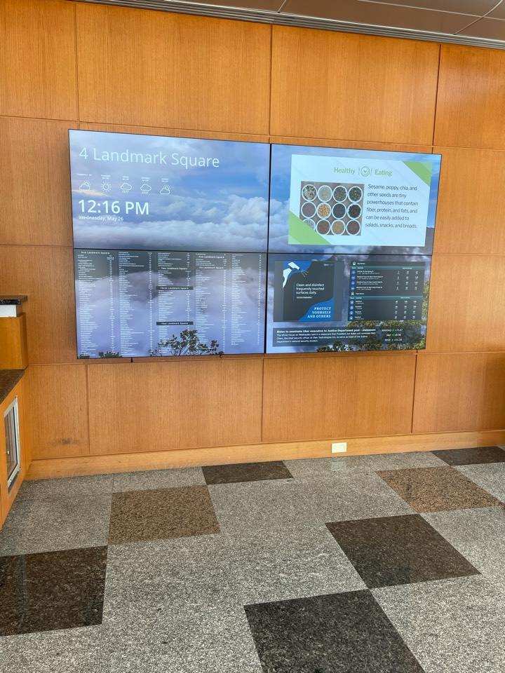Stamford, CT - New digital screens technology in our building lobby. All companies renting space with us are displayed prominently on this board.