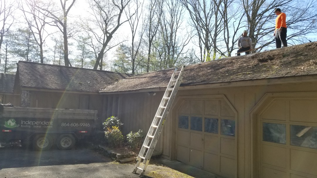 """Hendersonville, NC - In progress: Another GAF Timberline HD Roof system in """"Weathered Wood."""" Independent Construction Services is a GAF Master Elite roofing contractor with all appropriate licenses and insurance to take care of your roofing, siding, guttering and painting (exterior and interior) needs. Centrally� located� in� Mills River,� NC,� we are able to service both the greater Asheville and Hendersonville areas. Call us today at (828) 808-8482"""