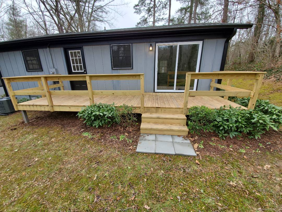 Asheville, NC - New roof estimate GAF Timberline HD, Master Elite installer, Golden Pledge Warranty. Deck repair estimate, gutter repair estimate.