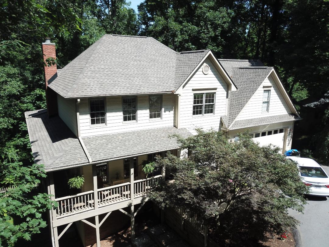 Asheville, NC - A beautiful new GAF roof installed by Independent construction, this one in Timberline Weathered Wood HD. #ashevilleroofrepair#IndependentConstruction#ashevillroofingcontractor
