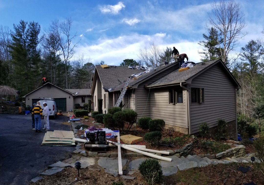Fairview, NC - Storm damage repair and new GAF HD roof install #roofingservices #exteriorpaintingservices #chimneyleak #roofleakrepair #treedamage #stuccosealing #raindanceroofing #gaf #masterelite #goldenpledge #siding #gutters #asheville #hendersonville #northcarolina