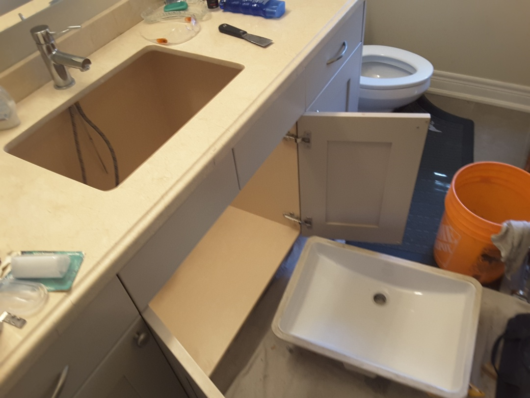 York, ON - Removed sink and prepped for silicone