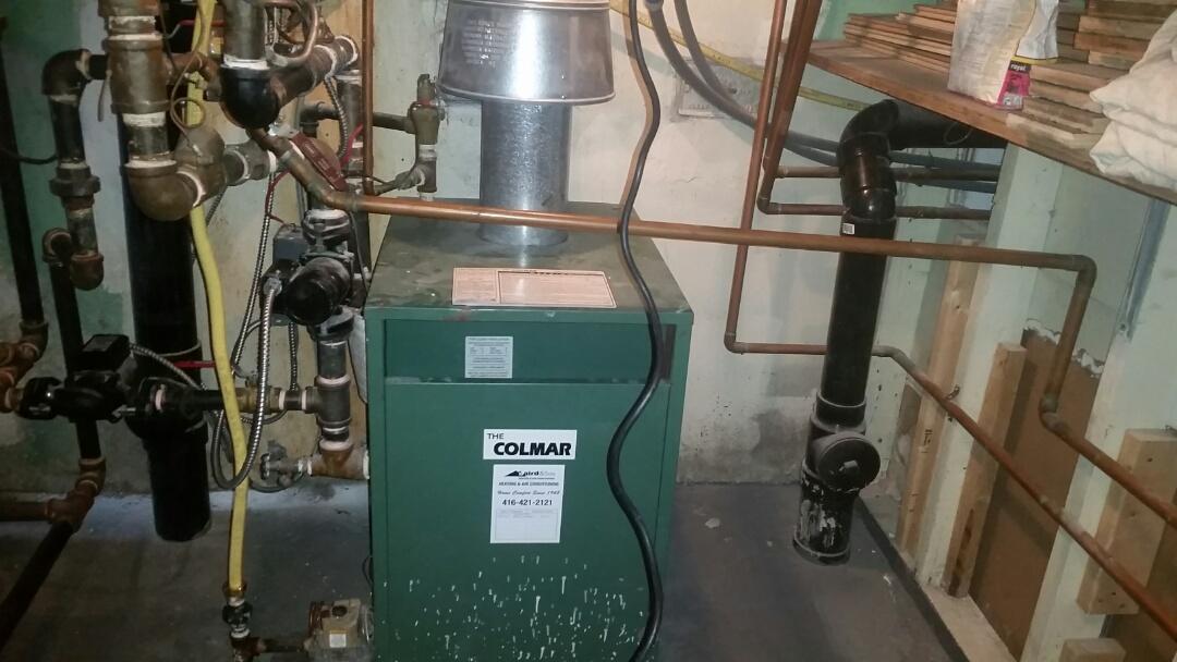 Serviced boiler