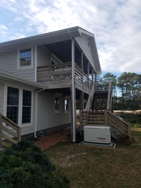 Manteo, NC - Gutter jobs are an essential part of island life with some of the rains we get. This new gutter install received 5k Gutters and Gutter Guards to ensure he has easy clean out and a lot less rain pouring on his house. We have our own Gutter Machine that we take to you and install Seamless Gutters to fit your needs. The white gutter really adds appeal for this home owner to enjoy.