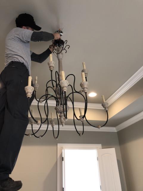 Moore, OK - Installing Chandeliers