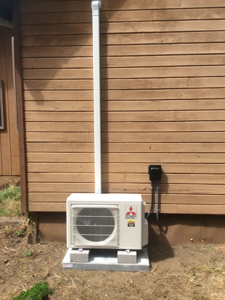 Logsden, OR - Heating and air conditioning service visit to install a Mitsubishi hyper heat Ductless Heatpump in Siletz Or