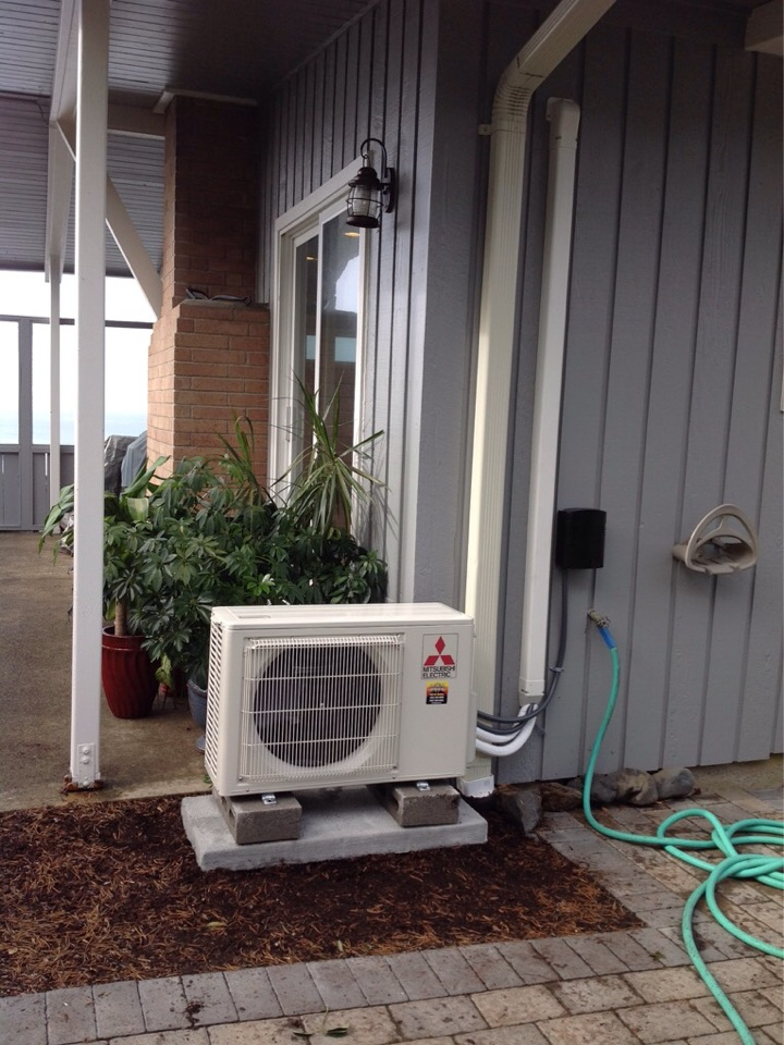 Seal Rock, OR - Service request to relocate an existing Mitsubishi hyper heat ductless Heatpump in Seal Rock Or