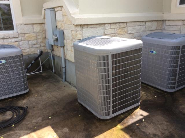Bastrop, TX - Commercial HVAC service. System is running but the blade and after market exhaust removal system is causing the head pressure to go very high. Replace the exhaust removal system and blade, clean both heat transfer coils, and replace both voltage enhancement system. System is operating properly at this time.