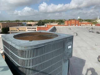 Austin, TX - Air conditioning companies Austin. System is running but the blade and after market exhaust removal system is causing the head pressure to go very high. Replace the exhaust removal system and blade, clean both heat transfer coils, replace both voltage enhancement system. System is working properly.