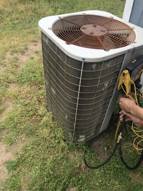Bastrop, TX - AC service Bastrop. There is a hole in the copper line of the refrigerant pumping system because of wires rubbing it. Repair holes and wires. System is cooling properly.