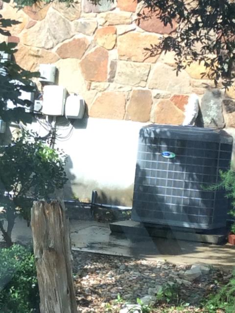 Paige, TX - air conditioning companies Bastrop. system is low on r410a, there is a leak on the heat transfer media coil. Add leak sealant, refrigerant, performance enhancement system and clean the outdoor system off. System is now operating properly at this time.